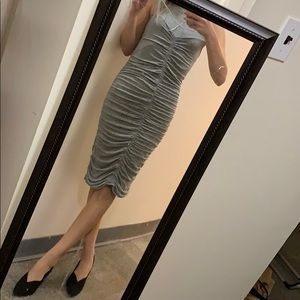Grey ruched sleeveless Trouve dress